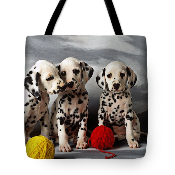 Three Dalmatian Puppies  Tote Bag by Garry Gay