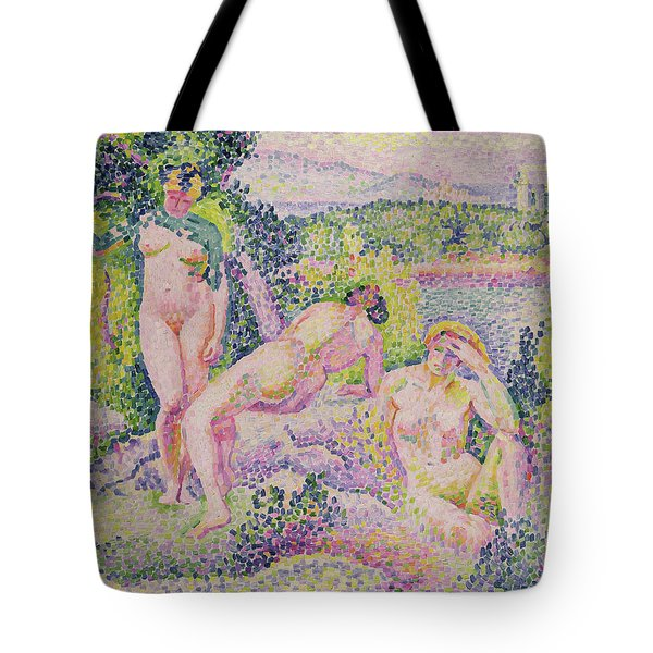 Three Nudes Tote Bag by Henri Edmond Cross