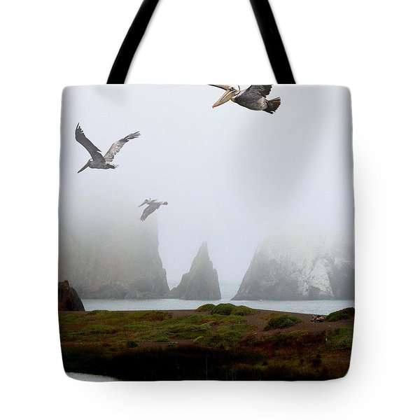 Three Pelicans in Portrait Tote Bag by Wingsdomain Art and Photography