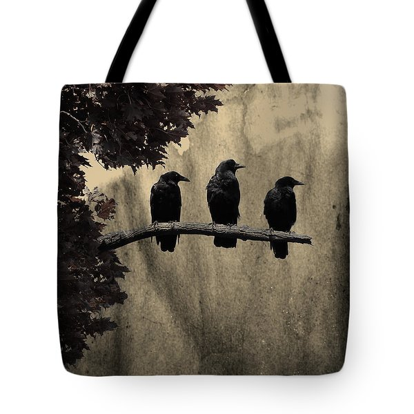 Three Ravens Tote Bag by Gothicrow Images