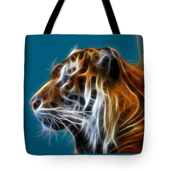 Tiger Fractal Tote Bag by Shane Bechler