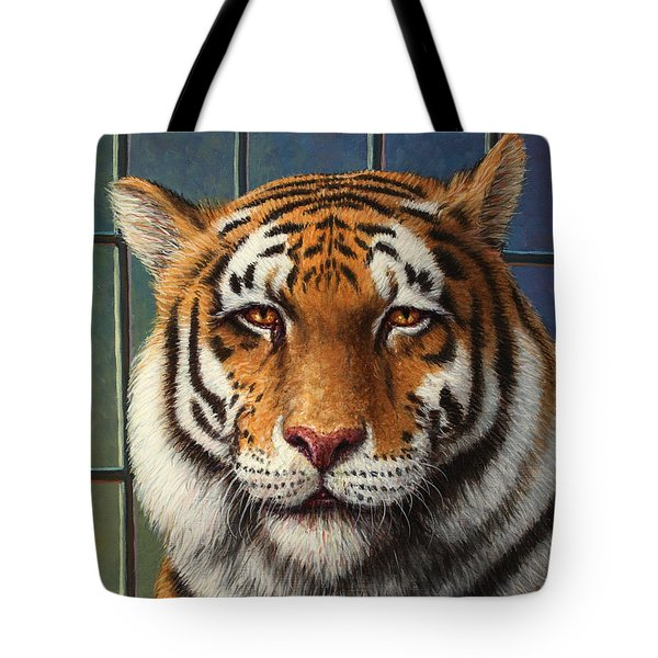 Tiger In Trouble Tote Bag by James W Johnson