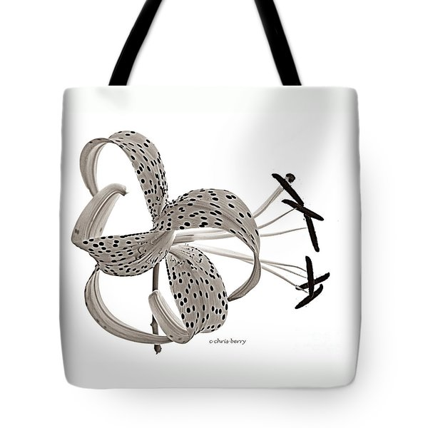 Tiger Lily In Black And White Tote Bag by Chris Berry
