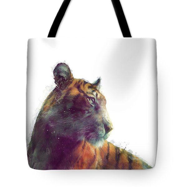 Tiger // Solace - White Background Tote Bag by Amy Hamilton