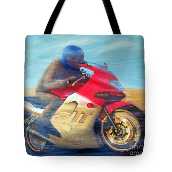 Time And Space Equation - Triumph 600tt Tote Bag by Brian  Commerford