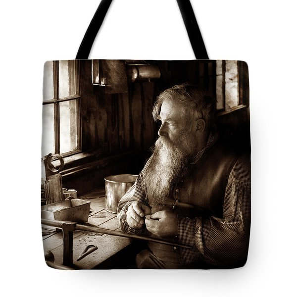 Tin Smith - Making Toys For Children - Sepia Tote Bag by Mike Savad