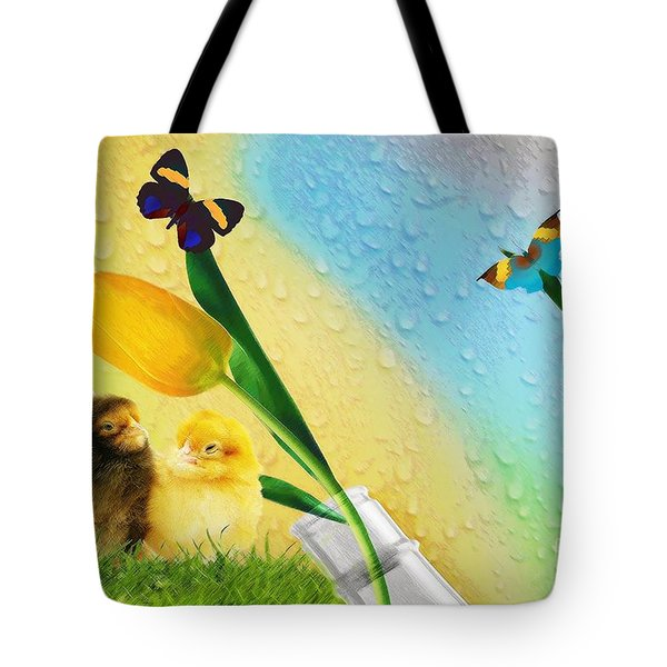 Tiptoe Through The Tulips Tote Bag by Liane Wright