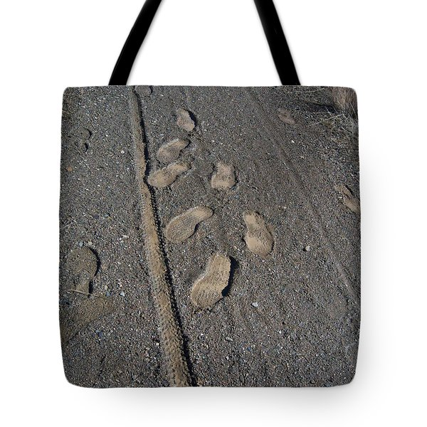 Tire Tracks and Foot Prints Tote Bag by Heather Kirk