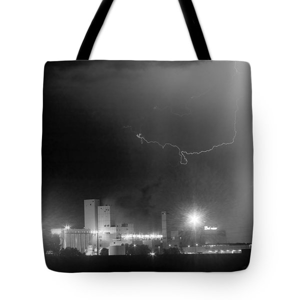 To The Right Budweiser Lightning Strike BW Tote Bag by James BO  Insogna