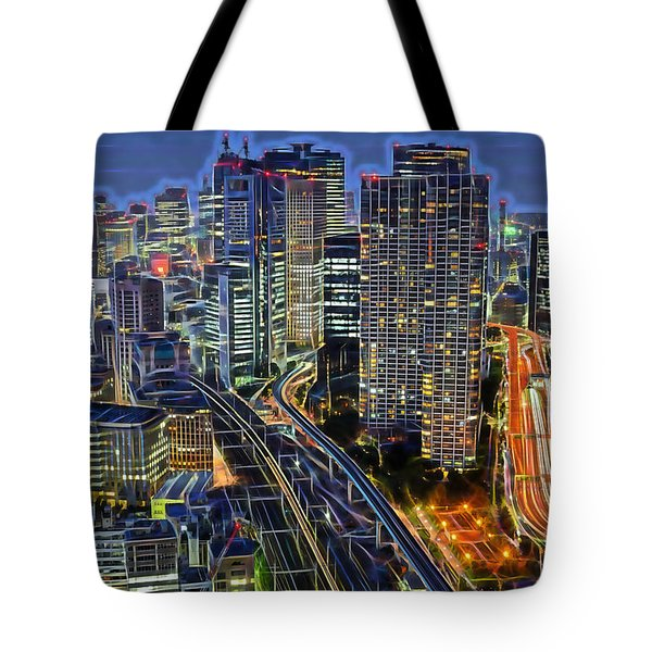 Tokyo Japan Skyline Tote Bag by Marvin Blaine
