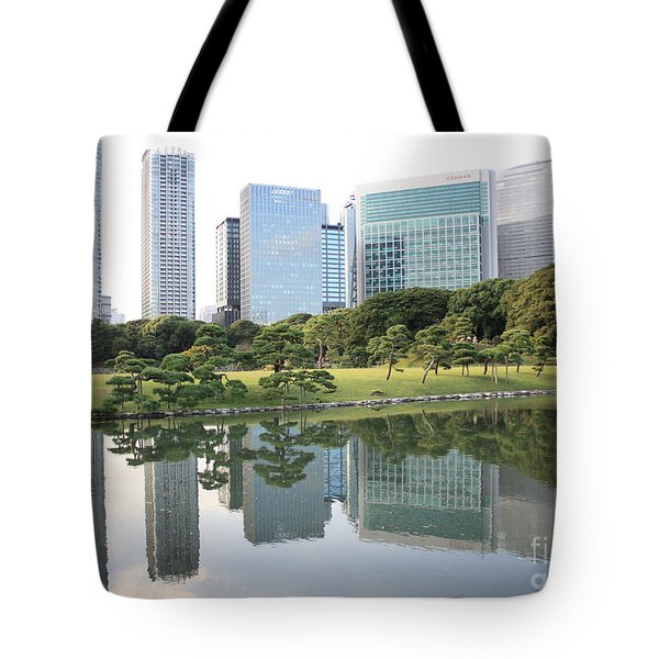 Tokyo Skyline Reflection Tote Bag by Carol Groenen
