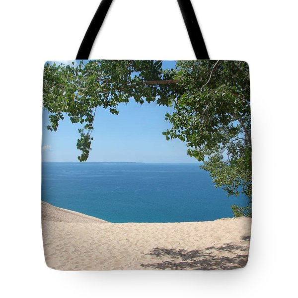 Top of the Dune at Sleeping Bear Tote Bag by Michelle Calkins