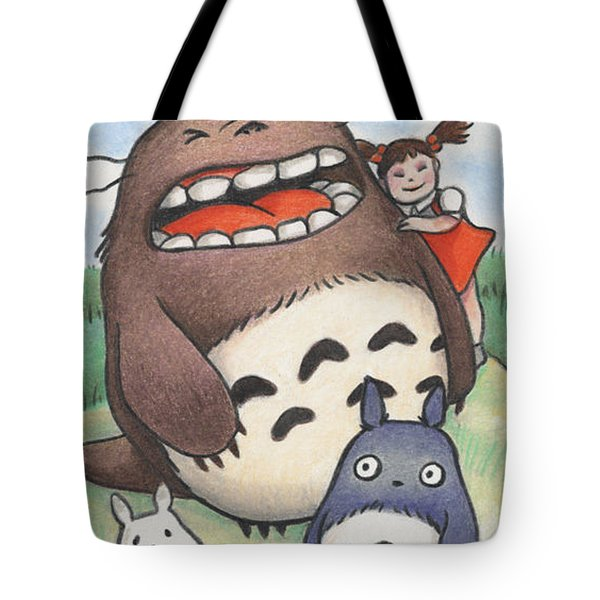 Totoro And Friends After Hayao Miyazaki Tote Bag by Amy S Turner