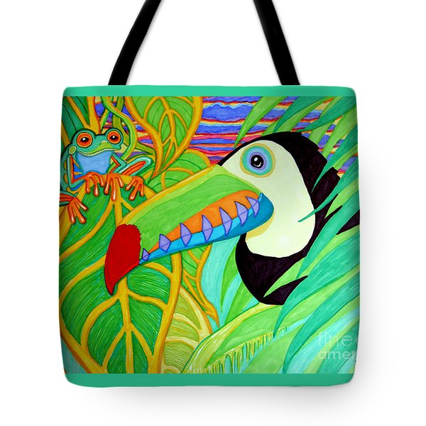 Toucan And Red Eyed Tree Frog Tote Bag by Nick Gustafson