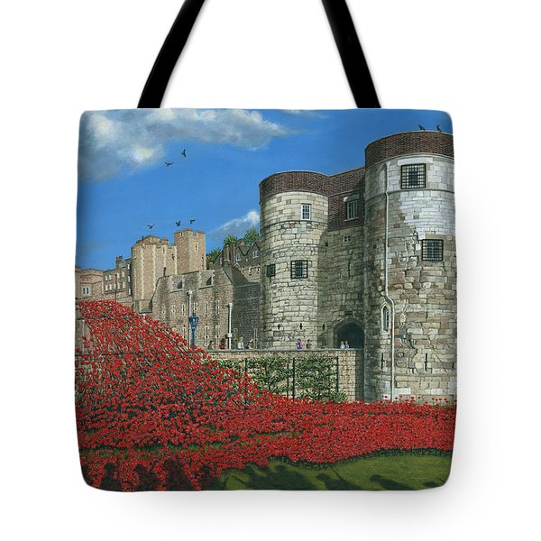 Tower Of London Poppies - Blood Swept Lands And Seas Of Red  Tote Bag by Richard Harpum