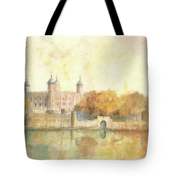Tower Of London Watercolor Tote Bag by Juan Bosco