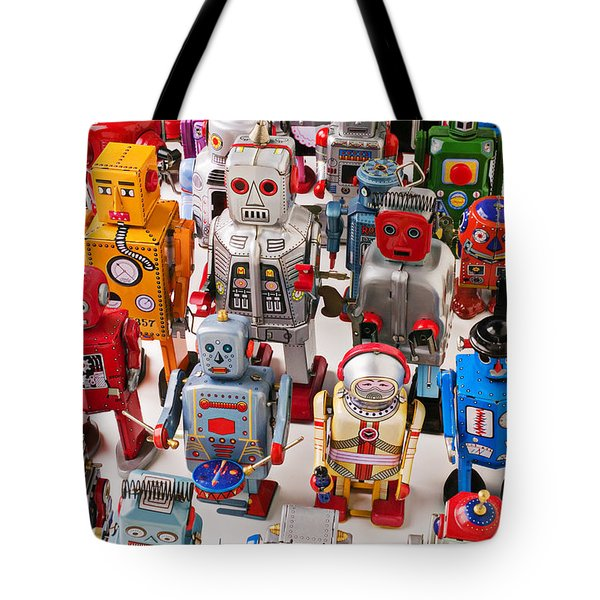 Toy Robots Tote Bag by Garry Gay