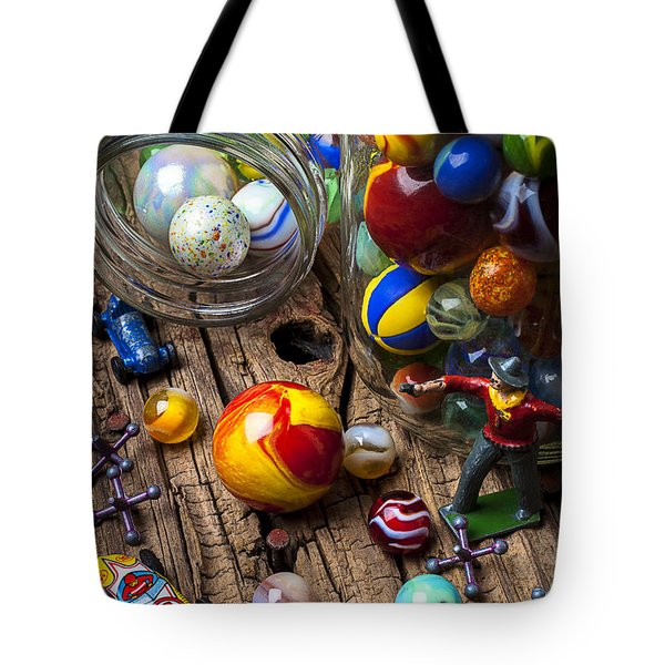 Toys And Marbles Tote Bag by Garry Gay