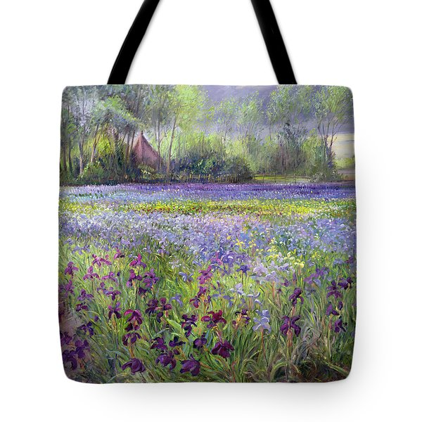 Trackway Past The Iris Field Tote Bag by Timothy Easton