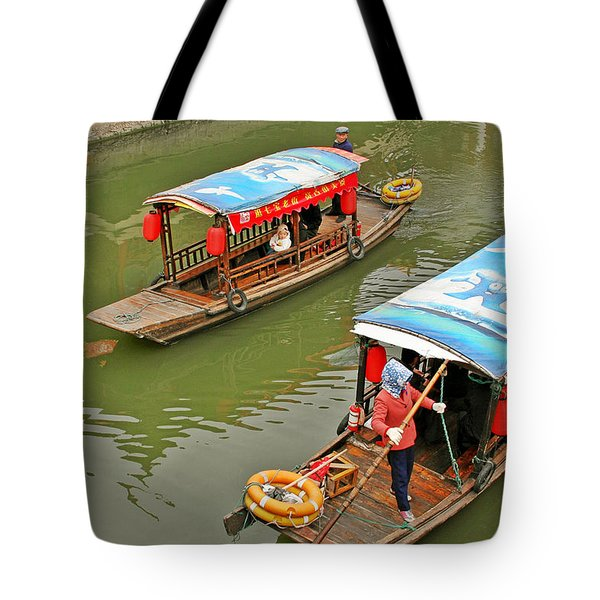 Traffic In Qibao - Shanghai's Local Ancient Water Town Tote Bag by Christine Till
