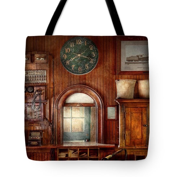 Train - Office - The Ticket Takers Window Tote Bag by Mike Savad