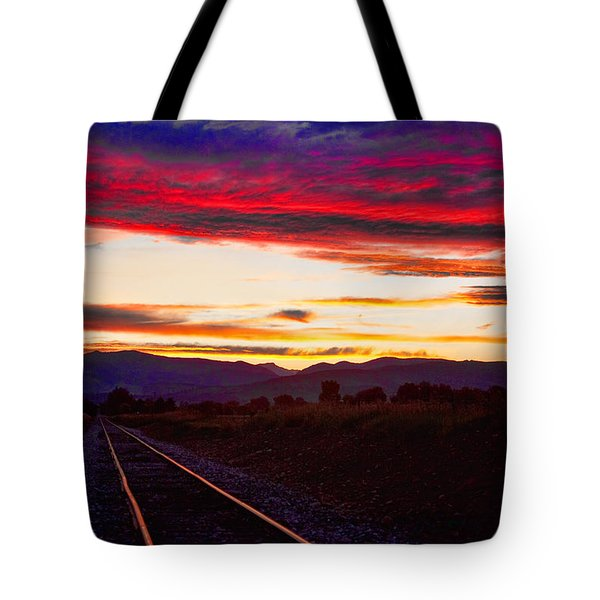 Train Track Sunset Tote Bag by James BO  Insogna