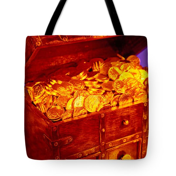 Treasure Chest With Gold Coins Tote Bag by Garry Gay