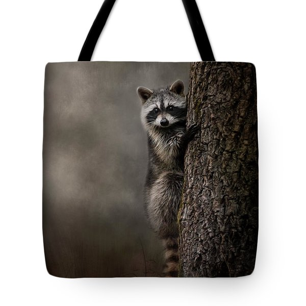 Tree Hugger Raccoon Art Tote Bag by Jai Johnson