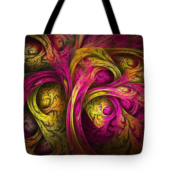 Tree Of Life In Pink And Yellow Tote Bag by Tammy Wetzel