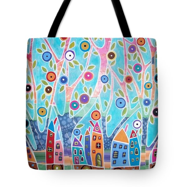 Trees Houses Landscape Tote Bag by Karla Gerard