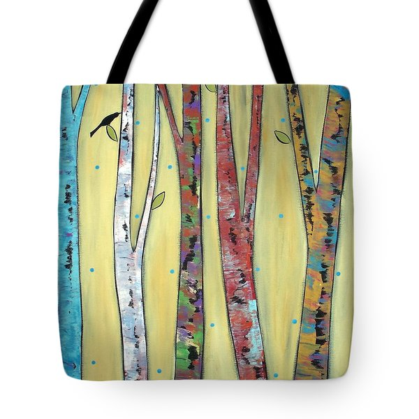 Trees On Yellow Tote Bag by Karla Gerard