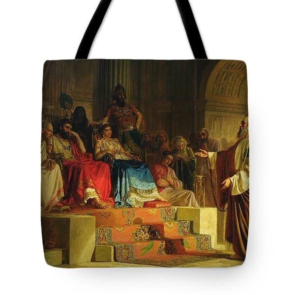 Trial Of The Apostle Paul Tote Bag by Nikolai K Bodarevski