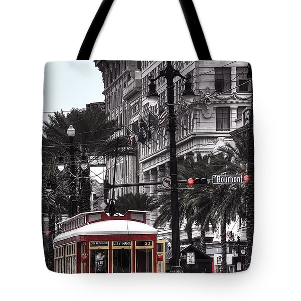 Trolley On Bourbon And Canal Tote Bag by Tammy Wetzel
