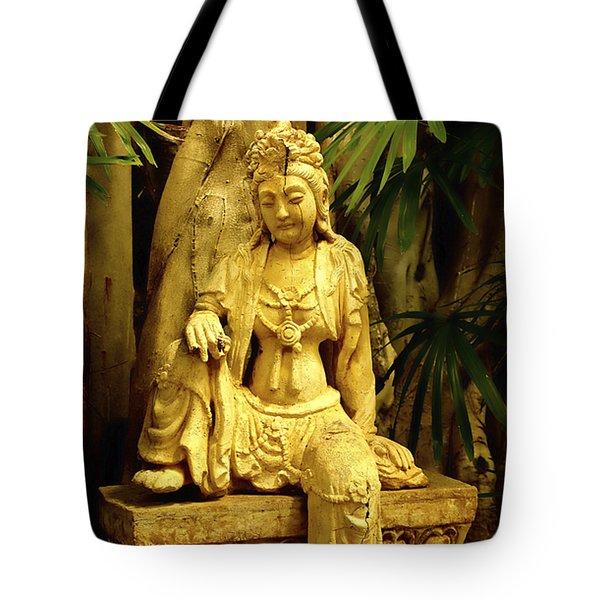 Tropical Buddha Tote Bag by Cheryl Young