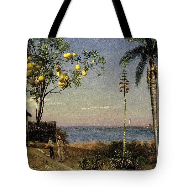 Tropical Scene Tote Bag by Albert Bierstadt