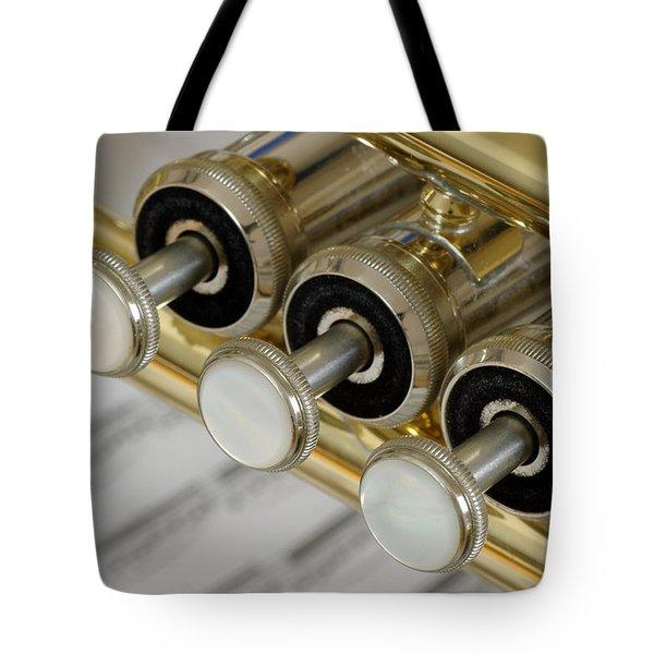 Trumpet Valves Tote Bag by Frank Tschakert