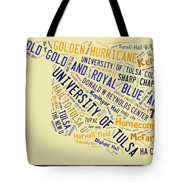 Tu Word Art University Of Tulsa Tote Bag by Roberta Peake