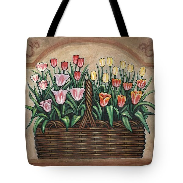 Tulip Basket Tote Bag by Linda Mears