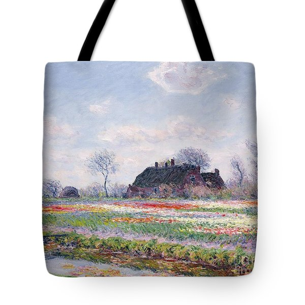 Tulip Fields At Sassenheim Tote Bag by Claude Monet