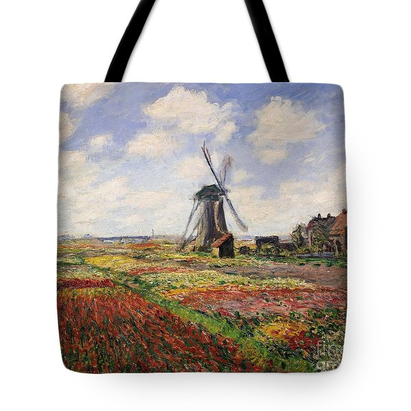 Tulip Fields With The Rijnsburg Windmill Tote Bag by Claude Monet