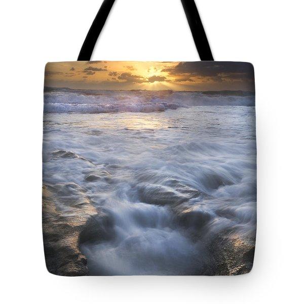 Tumbling Surf Tote Bag by Debra and Dave Vanderlaan