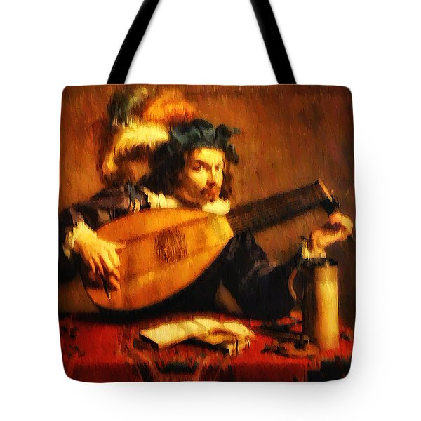 Tuning Up the Lute Tote Bag by Bill Cannon