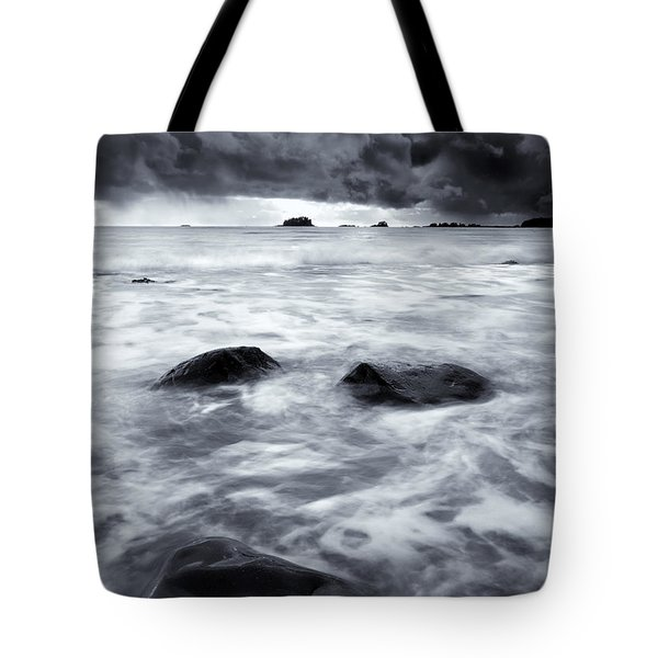 Turbulent Seas Tote Bag by Mike  Dawson