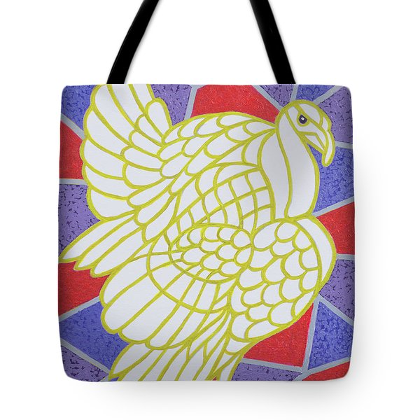 Turkey On Stained Glass Tote Bag by Pat Scott