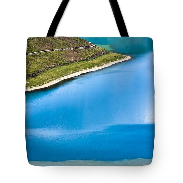 Turquoise Water Tote Bag by Hitendra SINKAR