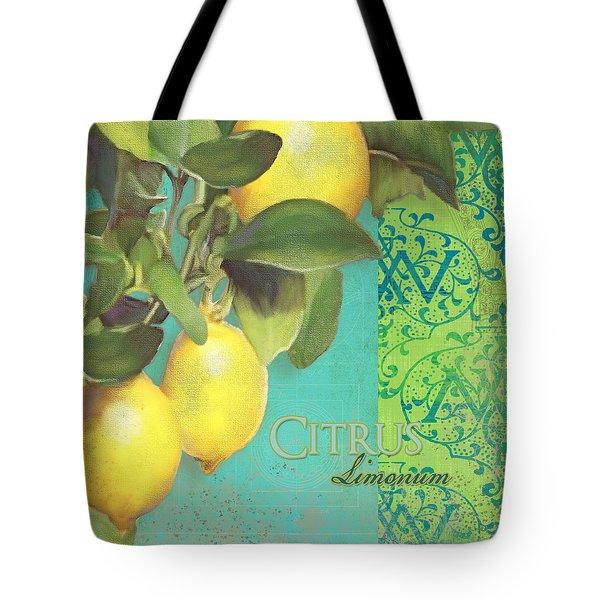 Tuscan Lemon Tree - Citrus Limonum Damask Tote Bag by Audrey Jeanne Roberts