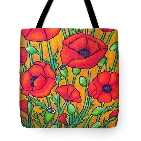 Tuscan Poppies - Crop 2 Tote Bag by Lisa  Lorenz