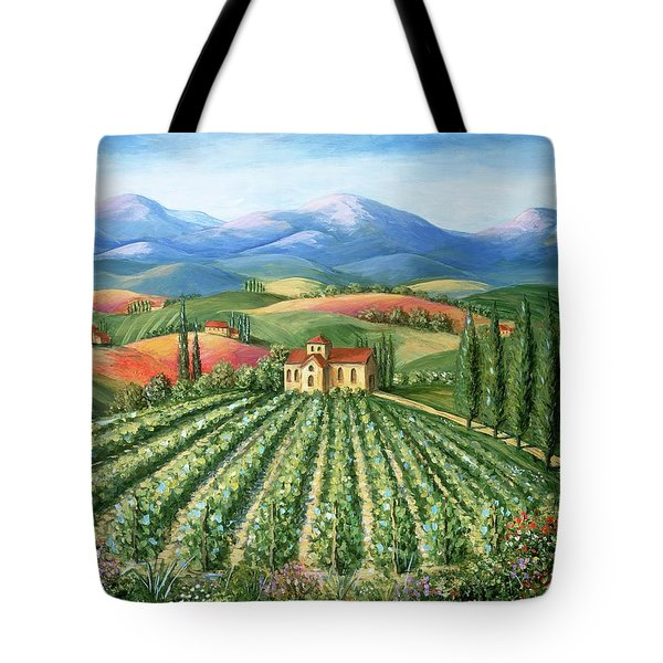 Tuscan Vineyard And Abbey Tote Bag by Marilyn Dunlap