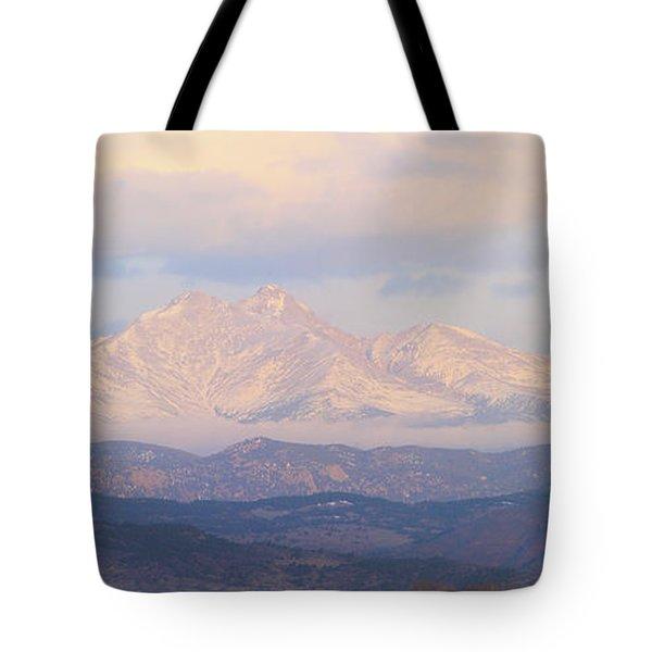 Twin Peaks Meeker And Longs Peak Panorama Color Image Tote Bag by James BO  Insogna