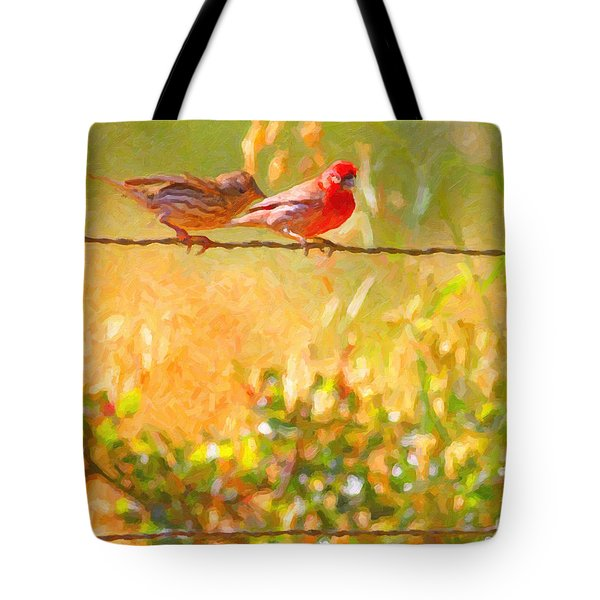 Two Birds On A Wire Tote Bag by Wingsdomain Art and Photography